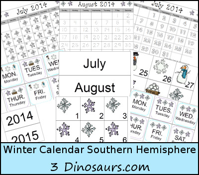 Free Winter Calendar for Southern  - 3Dinosaurs.com