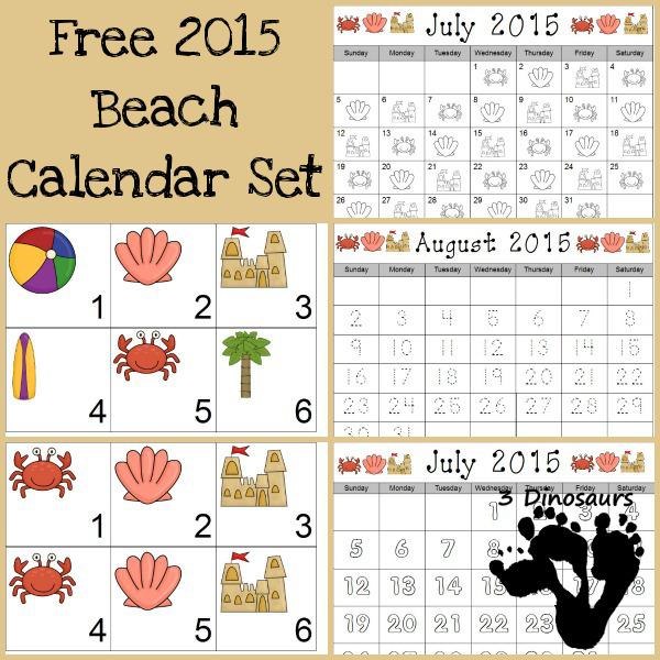 Free 2015 Beach Calenader - 3Dinosaurs.com