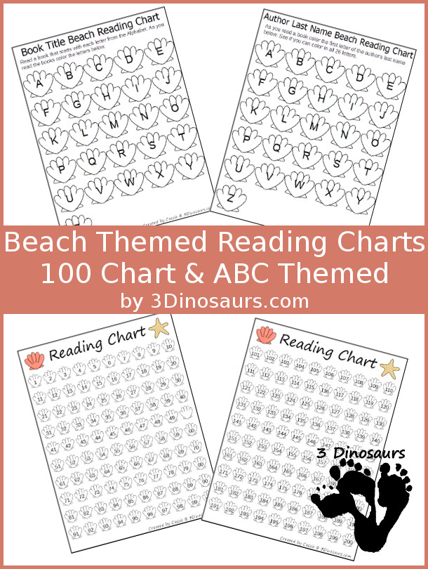 Free Beach Themed Reading Charts: ABC Theme for Book Title & Author and 100 Charts - 3Dinosaurs.com