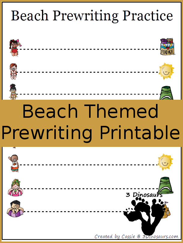 Free Beach Theme Prewriting Printable - 2 Different types - 3Dinosaurs.com