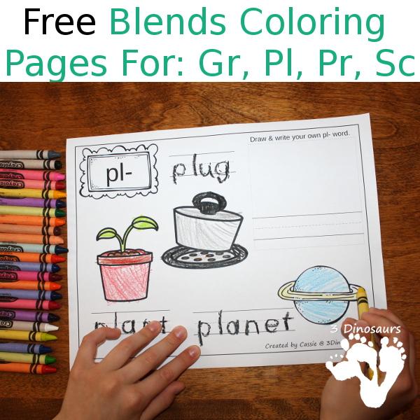 Free Blends Coloring Pages: Gr, Pl, Pr, Sc - 3Dinosaurs.com
