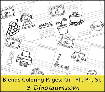 Free Blends Coloring Pages: Gr, Pl, Pr, Sc