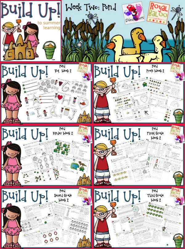 Build Up Summer Learning: Week 2 Pond - Levels: Tot, Prek, Kinder, First Grade, Second Grade & Third Grade - Sight Words, ABCs, ABC Cursive, Numbers, Shapes, Word Families, Language & Math - 3Dinosaurs.com & RoyalBaloo.com