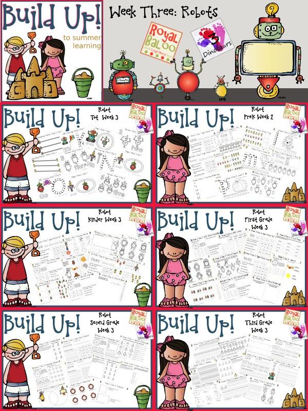 Build Up Summer Learning: Week 3 Robot - Levels: Tot, Prek, Kinder, First Grade, Second Grade & Third Grade - Sight Words, ABCs, ABC Cursive, Numbers, Shapes, Word Families, Language & Math - 3Dinosaurs.com & RoyalBaloo.com