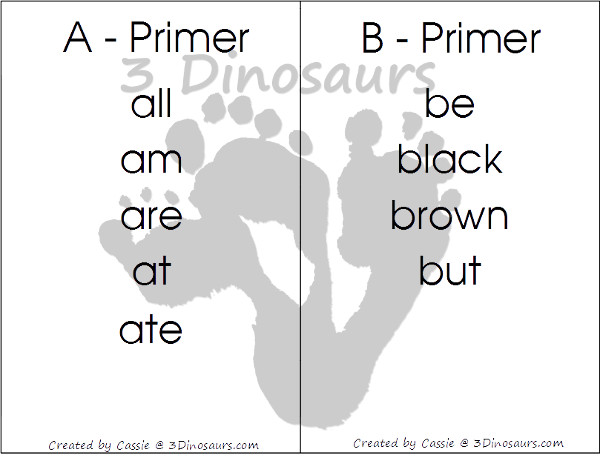 Free Dolch Primer Sight Word Wall Cards: It has all 52 words - 3Dinosaurs.com