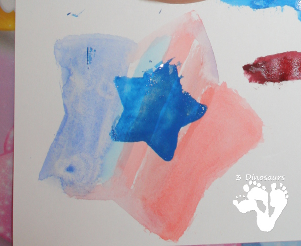 Stars & Flag Watercolor Painting - 3Dinosaurs.com