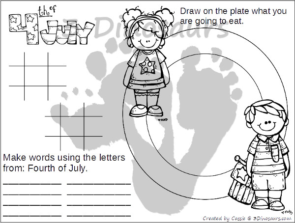 4th of July Placemats - 4 fun placemats for various ages to use - 3Dinosaurs.com