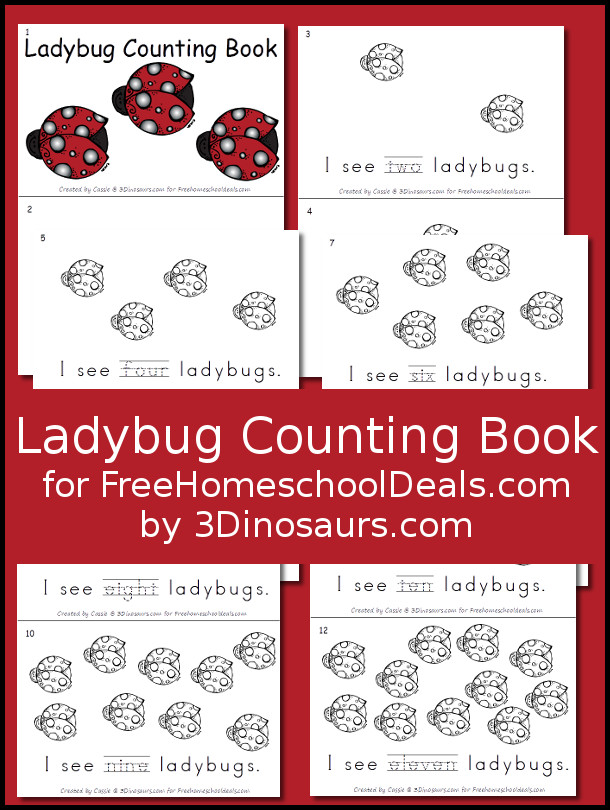 Free Ladybug Counting Book - s - 3Dinosaurs.com