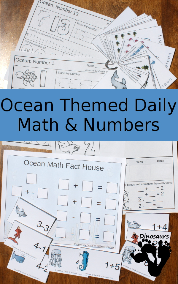 Ocean Daily Number & Math For the Summer - $7.50 - 3Dinosaurs.com