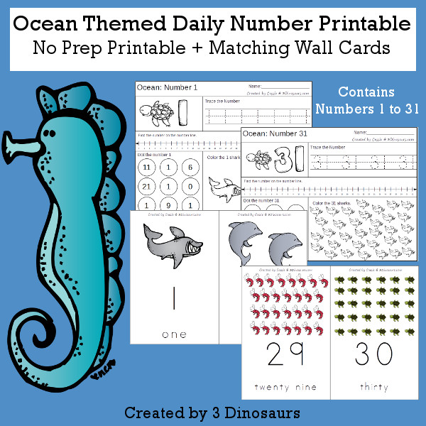 Ocean Daily Number For the Summer - wall cards, no-prep printables $4 - 3Dinosaurs.com