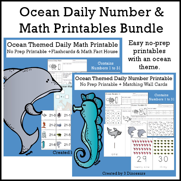 Ocean Daily Number & Math For the Summer - flashcards for addition & subtraction, math fact house, no-prep printables $7.50 - 3Dinosaurs.com