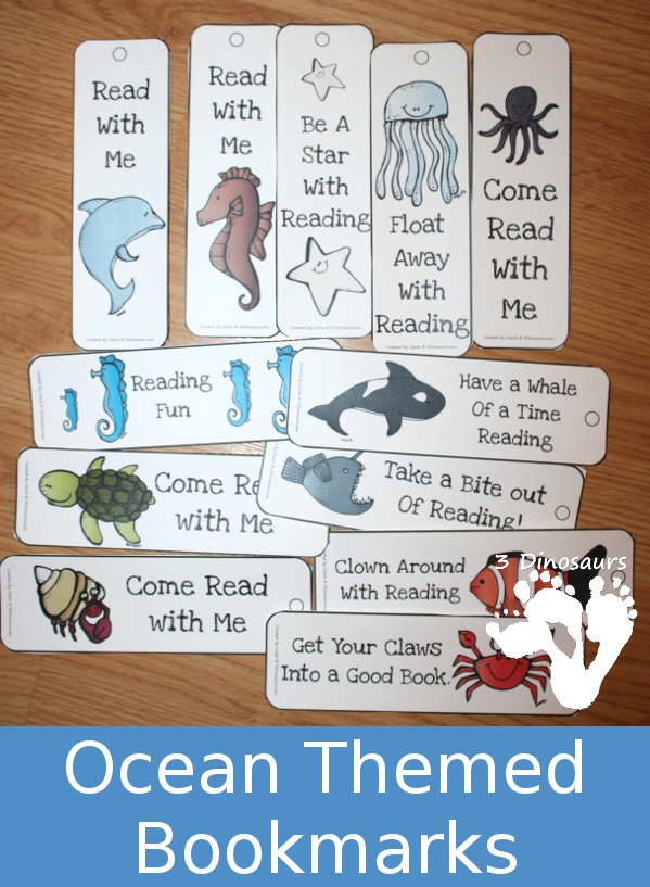 Free Ocean Themed Bookmarks - 12 different bookmarks to pick from - 3Dinosaurs.com