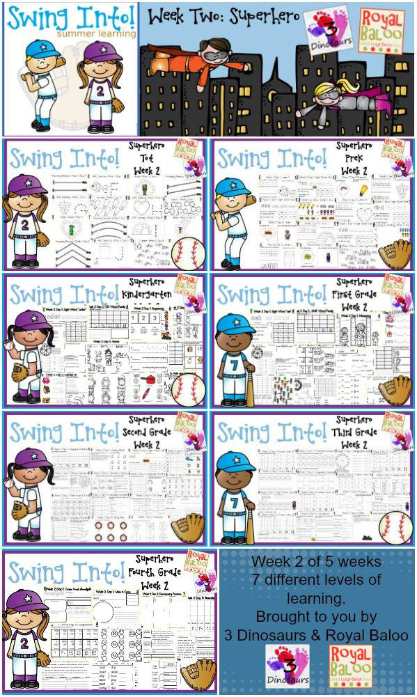 FREE Swing Into Summer Learning: Week 2 Superhero - 5 days of activities with 7 levels of learning: Tot, PreK, Kinder, First Grade, Second Grade, Third Grade and Fourth Grade - including math, language, abcs and more - 4 pages of printables for each day  - 3Dinosaurs.com & RoyalBaloo.com