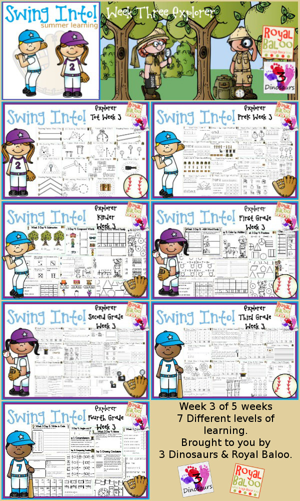FREE Swing Into Summer Learning: Week 3 Explorer - 5 days of activities with 7 levels of learning: Tot, PreK, Kinder, First Grade, Second Grade, Third Grade and Fourth Grade - including math, language, abcs and more - 4 pages of printables for each day  - 3Dinosaurs.com & RoyalBaloo.com