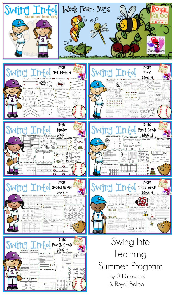FREE Swing Into Summer Learning: Week 4 Bugs - 5 days of activities with 7 levels of learning: Tot, PreK, Kinder, First Grade, Second Grade, Third Grade and Fourth Grade - including math, language, abcs and more - 4 pages of printables for each day  - 3Dinosaurs.com & RoyalBaloo.com
