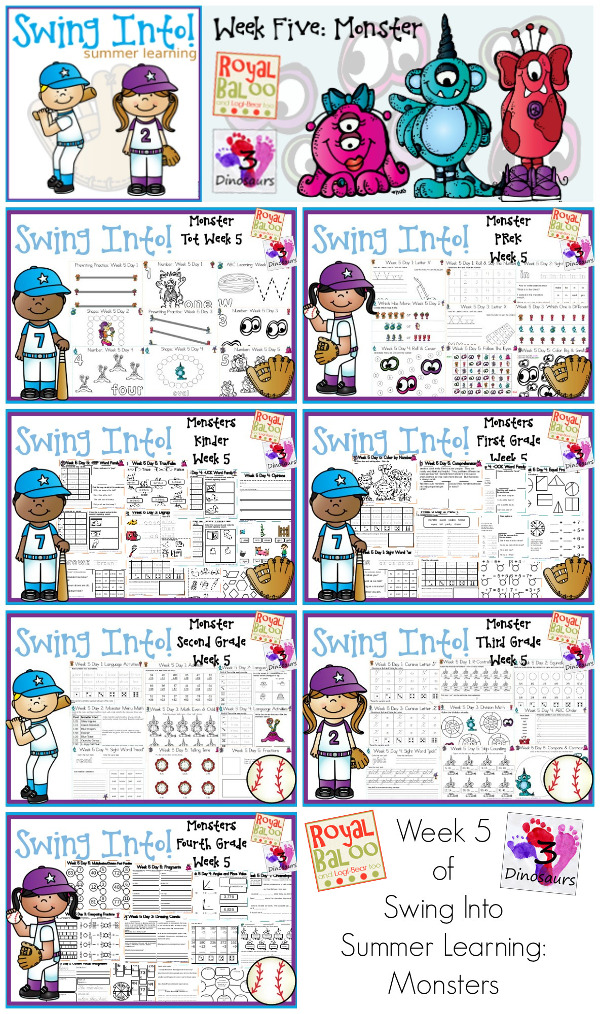 FREE Swing Into Summer Learning: Week 5 Monsters - 5 days of activities with 7 levels of learning: Tot, PreK, Kinder, First Grade, Second Grade, Third Grade and Fourth Grade - including math, language, abcs and more - 4 pages of printables for each day  - 3Dinosaurs.com & RoyalBaloo.com