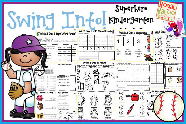 Swing Into Summer Learning: Week 2 Superhero - Kinder: Sight Words: who, black, no, there, did; Word Family: (The Bug in the Jug Wants a Hug) -ad, -ob, -ub, -all, -est; Math  and Language- 3Dinosaurs.com