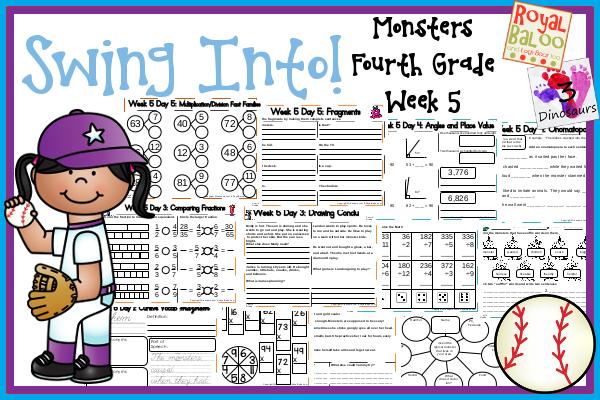 Swing Into Summer Learning: Week 5 Monster - Fourth Grade: Writing, 5 vocab: mayhem, haphazard, klutz, coax, terrified; Math & Language - 3Dinosaurs.com & RoyalBaloo.com