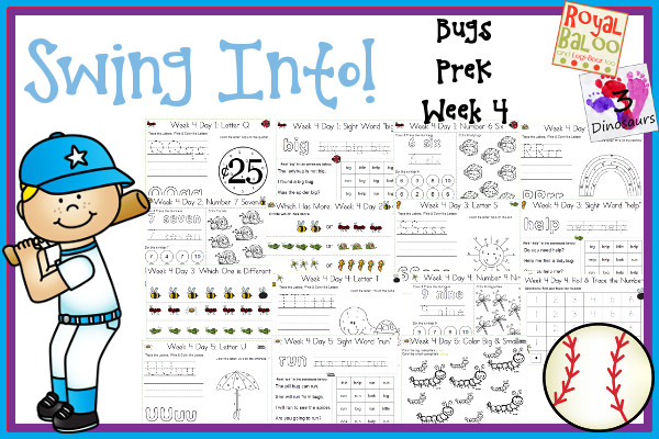 Swing Into Summer Learning: Week 4 Bugs - PreK: Alphabet:  Q, R, S, T, U; Sight Words: big, little, help, look, run; Number: 6, 7, 8, 9, 10; and an extra learning page for each day; and an extra learning page for each day - 3Dinosaurs.com