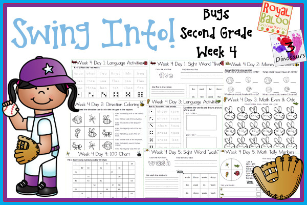 Swing Into Summer Learning: Week 4 Bugs - Second Grade: Second - Sight Words: five, its, sleep, those, wash; Word Family: -ee, -each or eech, -ose, -ief, -eik or eek; Math and Language - 3Dinosaurs.com