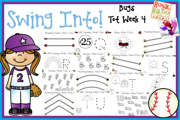 Swing Into Summer Learning: Week 4 Bugs - Tot: Prewriting,  Alphabet: Q, R, S, T, U; Shapes: diamond, star, heart, crescent, hexagon; Numbers:6, 7, 8, 9, 10 - 3Dinosaurs.com
