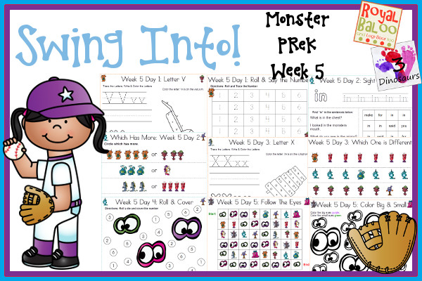 Swing Into Summer Learning: Week 5 Monsters - PreK: Alphabet:  V, W, X, Y, Z; Sight Words: make, in, for, you, said; Number: 1, 2, 3, 4, 5, 6, 7, 8, 9, 10; and an extra learning page for each day; and an extra learning page for each day - 3Dinosaurs.com