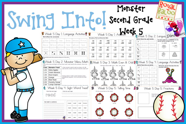 Swing Into Summer Learning: Week 5 Monsters - Second Grade: Second - Sight Words: because, made, read, work, your; Word Family: -ow ,  eath, -ew, -ue -oe; Math and Language - 3Dinosaurs.com