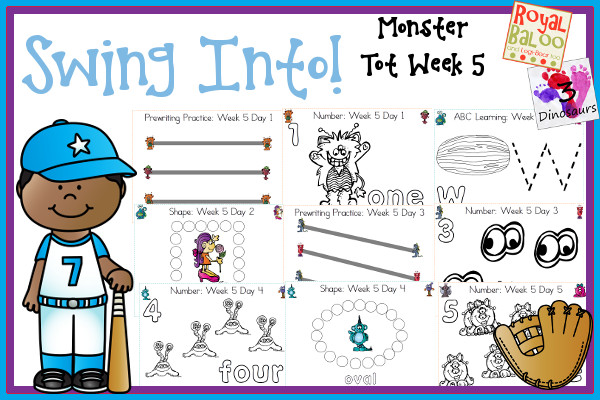 Swing Into Summer Learning: Week 5 Monsters - Tot: Prewriting,  Alphabet: V, W, X, Y, Z; Shapes: diamond, star, heart, crescent, hexagon; Numbers: 1, 2, 3, 4, 5 - 3Dinosaurs.com
