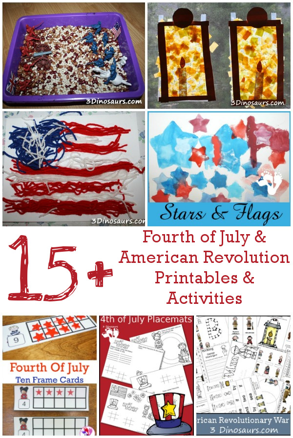 15+ 4th of July and American Revolution - printables, crafts, painting, sensory bin, trip reviews and more!