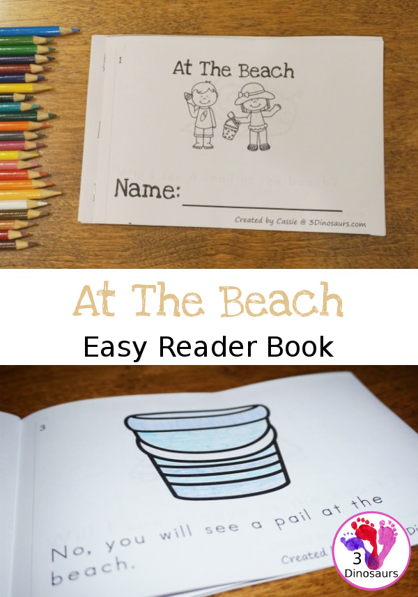 Free Fun At The Beach Themed Easy Reader Book - 14 pages with question and answers about the beach - 3Dinosaurs.com