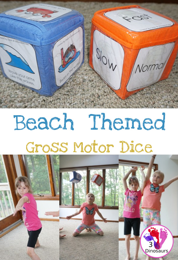 Free Beach Themed Gross Motor Dice - 3Dinosaurs.com