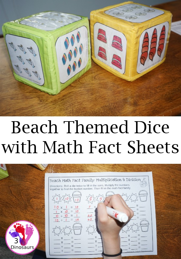 Free Fun No-Prep Beach Math Facts - addition and subtraction or multiplication and division with beach themed Dice - 3Dinosaurs.com