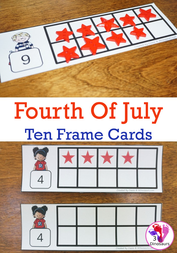 Free Fourth of July Ten Frame Cards - two different types of cards to use with red and blue stars - 3Dinosaurs.com