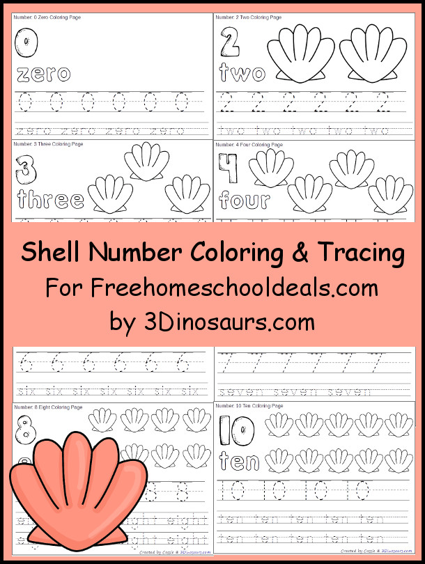 Free Shell Themed Number Color & Trace - Numbers 1 to 10 - 3Dinosaurs.com