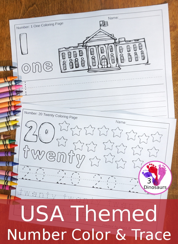 No Prep USA Themed Number Color & Trace - two different page type options for the numbers 0 to 20 $ - 3Dinosaurs.com