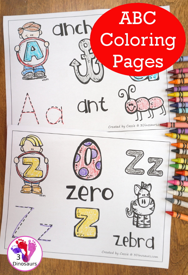 Free ABC Coloring Pages - has all 26 letters in a easy to use no-prep printable - 3Dinosaurs.com