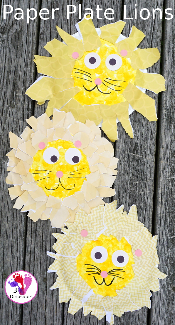 Easy To Make Paper Plate Lion - made with paper plates and torn pape a : paper plate lions - Pezcame.Com