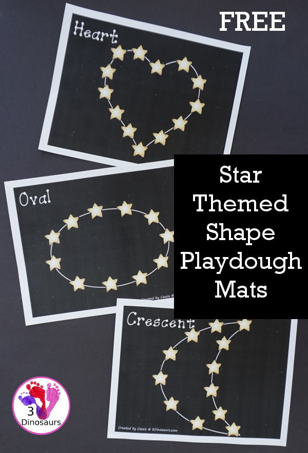 Free Star Themed Shape Playdough Mat - 10 fun shape mats with a stars that is great for a space themed shape center with two background options black or white  - 3Dinosaurs.com