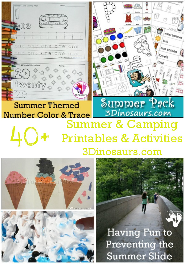 Summer & Camping Printables & Activities - printables, crafts, hands-on activities and more - 3Dinosaurs.com
