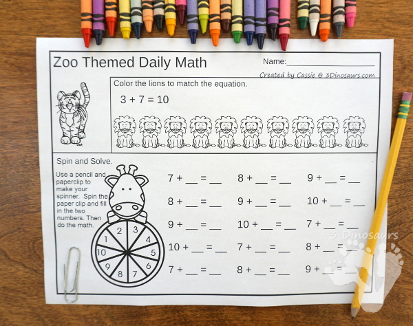No PrepZoo Themed Addition & Subtraction and Multiplication & Division - 30 pages no-prep printables with a mix of addition and subtraction or multiplication and division activities plus a math center activities - 3Dinosaurs.com #noprepmath #tpt #addition #subtraction #multiplication #division