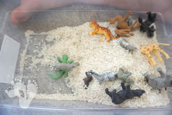 Zoo Theme Rice Sensory Bin - an easy to put together sensory bin that kids can use.  - 3Dinosaurs.com