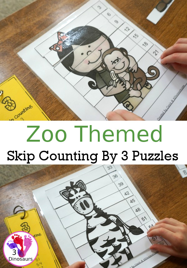Free Hands-On Learning With Zoo Skip Counting By 3 Puzzles - work on skip counting by 3 with these fun puzzles - 3Dinosaurs.com