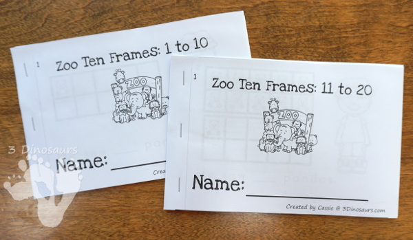 Zoo Themed Ten Frame Printables: No-Prep & Hands-On - 168 pages of printables working on ten frame activities for numbers 1 to 20 with hands-on and no-prep: cards, worksheets and easy reader books - 3Dinosaurs.com #handsonmath #teacherspayteachers #tenframe #summerprintablesforkids #printablesforkids