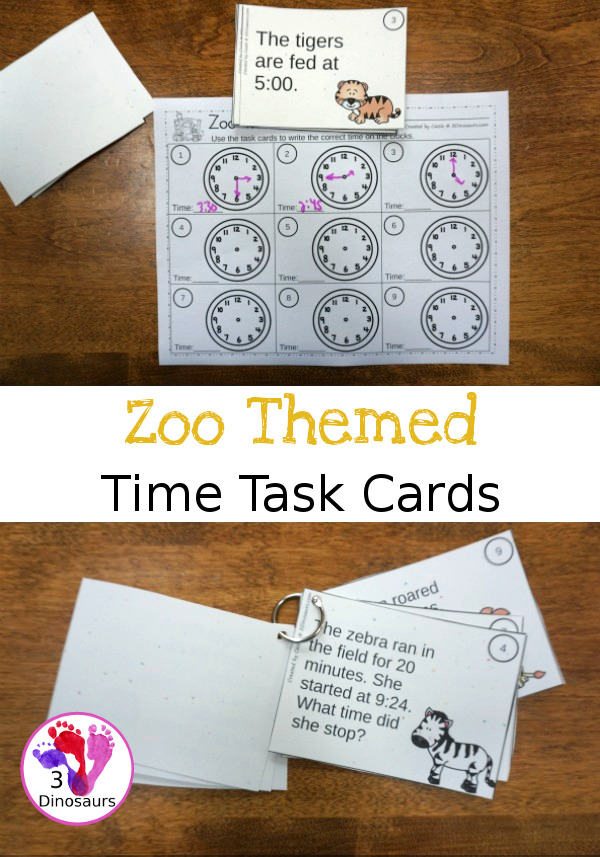 Free Zoo Themed Time Task Cards - two level of learning with clocks with at fun zoo theme - 3Dinosaurs.com