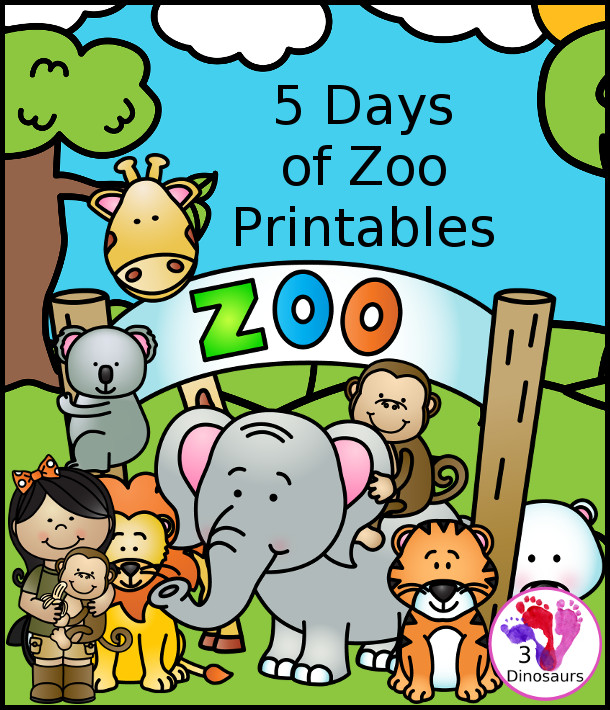 photo regarding Printable Zoo Animals called 3 Dinosaurs Stomping, Romping, and Roaring Printables