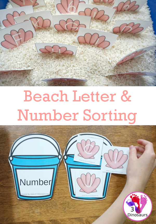Free Beach Themed Number & Letter Sorting - plus a few other ways to use this printables - 3Dinosaurs.com
