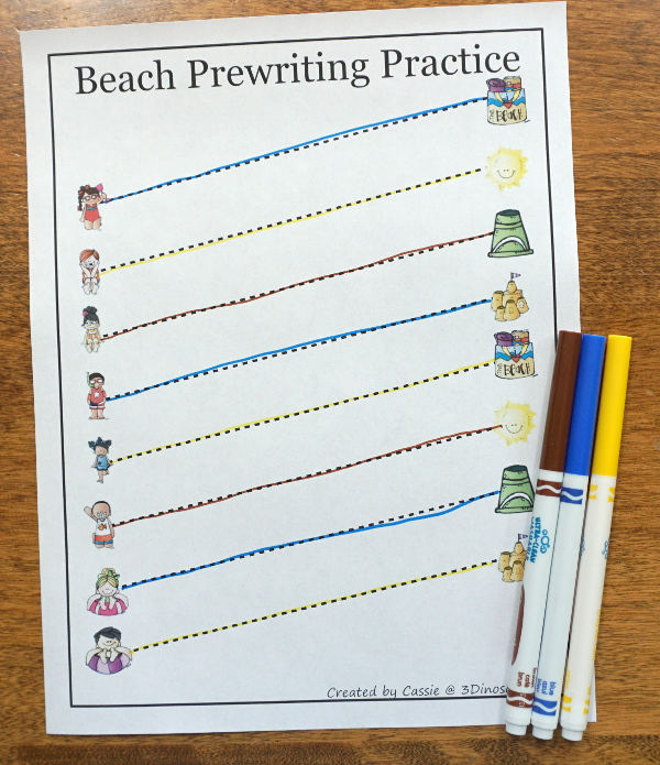 Free Handwriting Fun With Beach Themed Prewriting - 28 pages of free beach theme prewriting with two levels of lines for kids to trace - 3Dinosaurs.com #freeprintable #prewriting #3dinosaurs