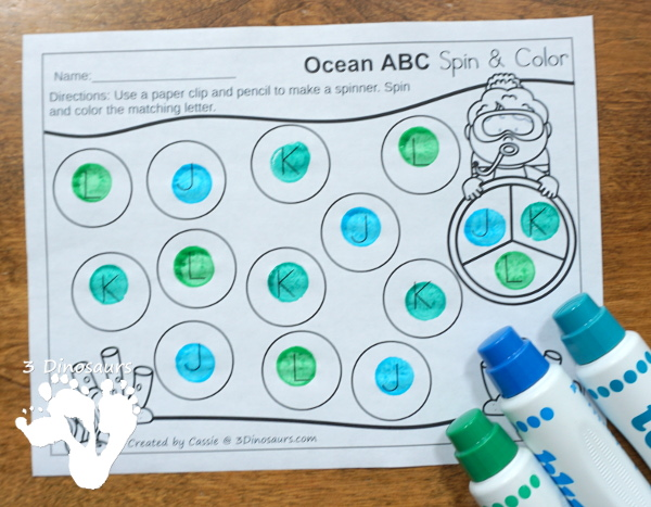Free Ocean Themed ABC Spin & Color - uppercase and lowercase options with 3 letters per page - #freeprintable #abcs  #3dinosaurs