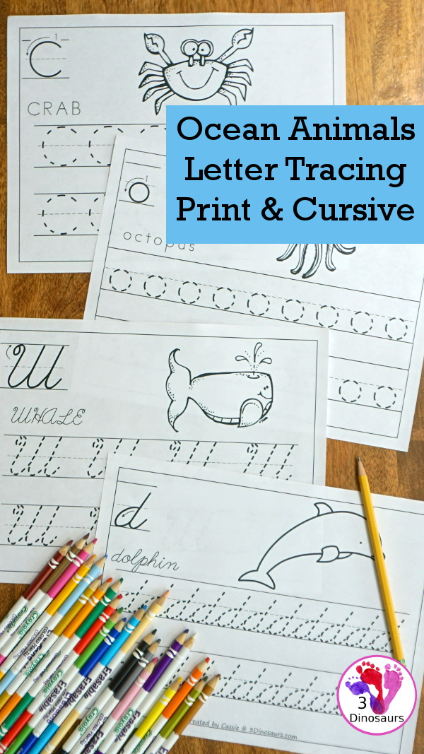 Free Ocean Animals Letter Tracing Print & Cursive - one letter per page with 6 letters in the set all with ocean animals themes in uppercase and lowercase for both print and cursive - #freeprintable #abcs #3dinosaurs