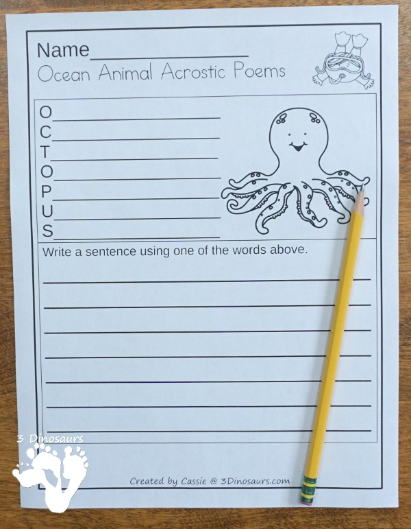 Free Ocean Animals Acrostic Poems - 6 ocean animals acrostic poems with writing - #freeprintable #poems #writingforkids  #3dinosaurs